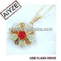 hot flower shape gold jewelry usb drive(paypal)