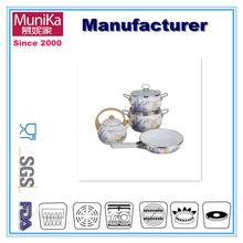 Munika Belly 14cm,16cm,18cm, 20cm 4pcs Stainless Steel casserole pot set 2.75 Qt Enameled kitchen and dinning Cast Iron Pot