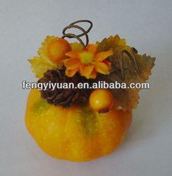Beautiful decorative artificial foam pumpkin with flower