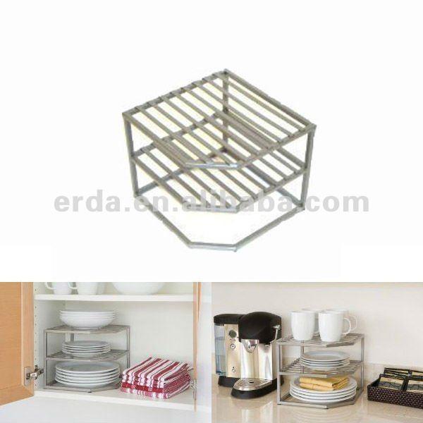 Kitchen Shelf Cabinet Organizer Plate Cup Wire Rack 2 Tier Corner