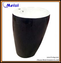 One piece pedestal black ceramic sink