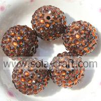 18*20MM Coffee Fashion Wholesale Solid Acrylic Resin Rhinestone Ball Beads100pcs