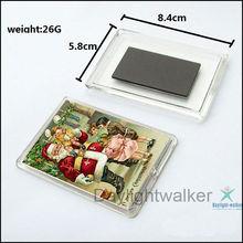 Popular Rectangle plastic photo insert acrylic fridge magnet (DW-1168)