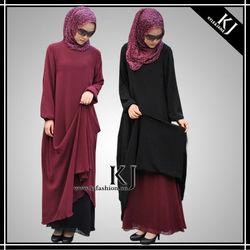 Kyle and Jane HOT selling 2015 new design abaya dubai fashion with Reversible Wearing Way P-140602