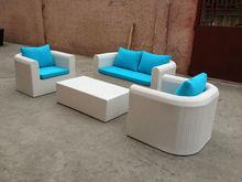 White Wicker 4-Piece Wicker Patio Conversation Furniture Set with blue cushion