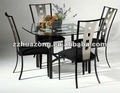 Cuadrado superior cristal bisel mesa de comedor y sillas laterales