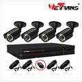 Com cabo e fonte de alimentação 4CH DVR Kit e 20 m IR sistema de câmera de CCTV