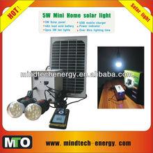 8hrs lighting 4Ah 2 led lamps 5w solar light kit