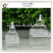 White Antique Metal Chrome Hanging Bird Cage
