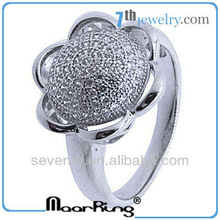 Fashion Rhodium Plated 925 Sterling Silver micro paved CZ Rings Flower Design Silver Rings 3.28g 2012 top fashion silver ring