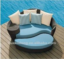 Veranda swimming pool rattan moon /oval sofa set /lounge with cushions
