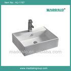 HJ-1197 Chinese White Sanitary Ware Ceramic Bathroom Sink Of Square Shape