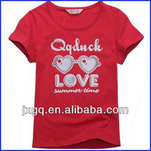 Promotional round neck girls plain tshirts for printing children cheap wholesale tshirts