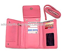 Tri - Folded Imitation Leather Ladies Wallet / Ladies Wallet With Mobile Phone Holder / Ladies Wallet With Handle
