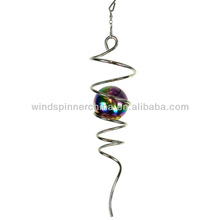 wind spinner--spiral w/stainless steel multi color gazing ball