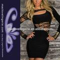 ML17834 Ladies Black Lace Knit Asymmetrical Dresses Evening Short