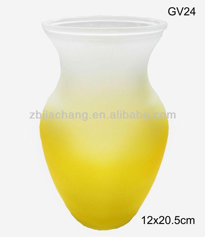 بلوري أصفر gv24 decoratives المزهريات الزجاجية