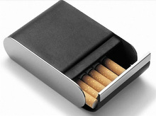 CT-429 Newest and fashion Metal (Philippi) Black leather cigarette case for Noble and elegant Men