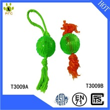 Hot sales cheap TPR rubber ball pet toys with rope