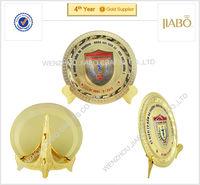 High quality zinc alloy custom design gold round metal plate
