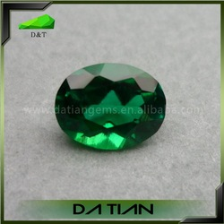 high quality oval loose synthetic green emeralds for sale