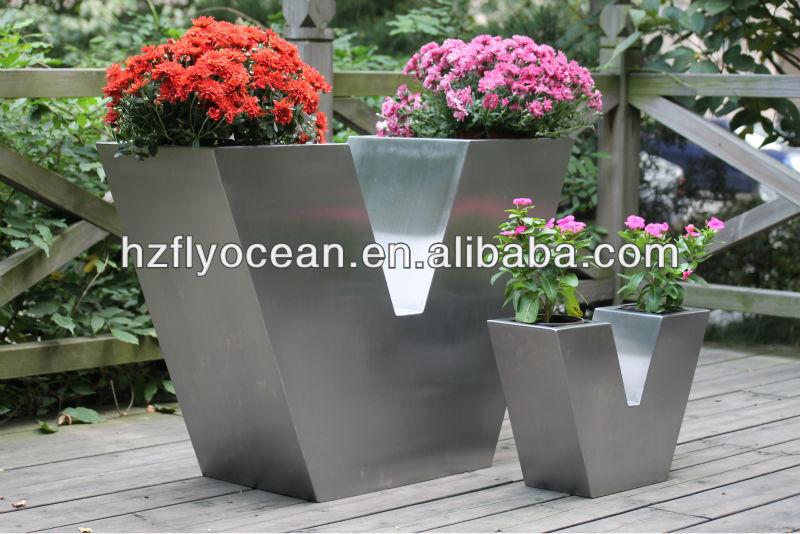 edelstahl blumentopf v typ fo 9029 garten pflanzer. Black Bedroom Furniture Sets. Home Design Ideas
