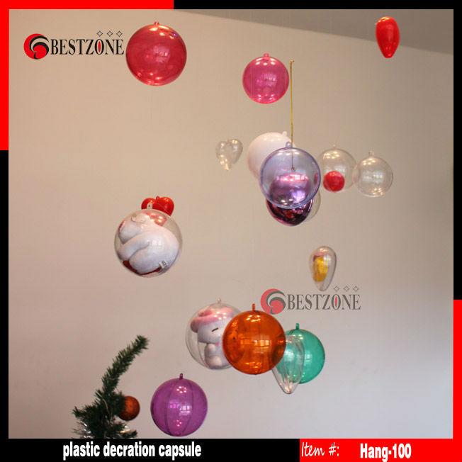 Diameter 10cm plastic clear Christmas ball