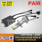 New cree led head light h4 pair 25w high lumen led high beam light car led headlight