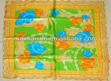 Square flower rose pattern 90x90 twill women pashimina