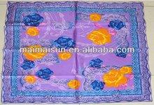 Square purple flower rose pattern shawl scarf silk pashimina