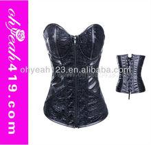New arrival open hot sex steel boned corset black leather corset