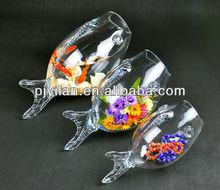 new design fish shape glass fish tank
