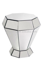 Modern Bevelled Plain Diamond Mirrored Pedestal Stand/Mirrored Side Table/Flower Stand/Home Decor