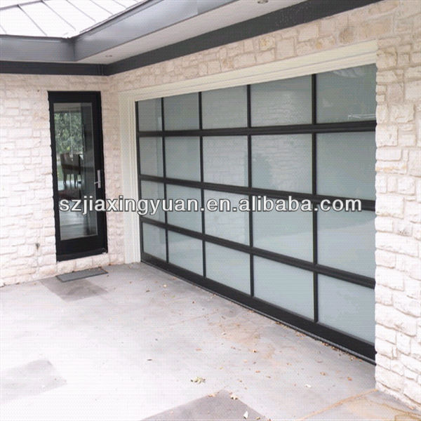 Classic residential sectional frosted glass garage door for Sectional glass garage door