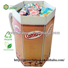 combos snacks food hexagonal dump bin cardboard display