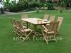 Teak Garden Furniture: Folding Chair With Recta Extending Table
