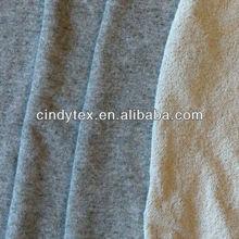 french terry heather grey cvc fleece fabric