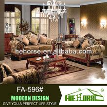FA-596# teak wood sofa sets 100% top grain leather genuine leather sofa set