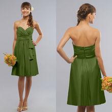 Sweetheart Neckline Asymmetrical Wrap Bodice Sash Short Chiffon Moss Modest Bridesmaid Dresses