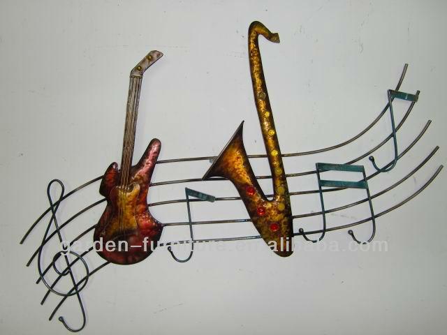 Artisanat en fer forg guitare notes de musique musicien for Decoration murale note de musique