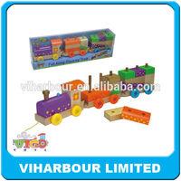 Pull along wood train,block children educational toys