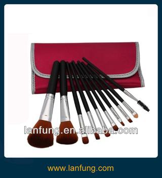 Professional 10 Pcs Makeup Make up Cosmetic Brushes Set Kit Eyeshadow Eyelash Eyebrow Lip Powder Blush Brush with Peach Bag