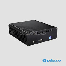 "aluminum mini pc case support 1*3.5"" HDD or 2*2.5 "" HDD, 120W DC-DC Board and12V/5A AC Adapter, QOTOM-C08B"