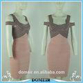 Fábrica de color rosa delicado vestido de vendaje, correas vestido de noche sexy vestido de vendaje hl243 de manufactura