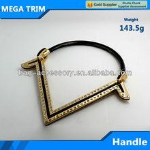 V shape light gold metal bag handle
