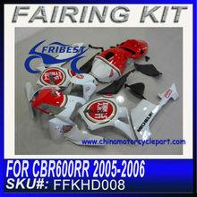 For HONDA CBR600RR Motorcycle Body Kits 2005 2006 PEARL WHITE LUCKY STRIKE