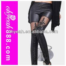 2015 Newest fashion girls leggings leather legging bind belt cross style
