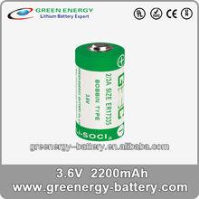 2/3a battery ER17335 battery 3.6v 2200mah lithium battery