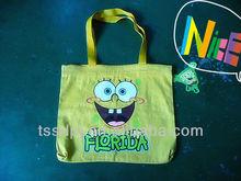 Hot selling cute yellow canvas shopping bag,canvas tote bag,canvas handbags