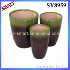Double color bright glazed flower pot
